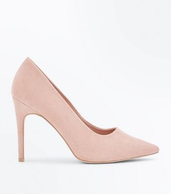 Wide Fit Cream Suedette Pointed Court Shoes