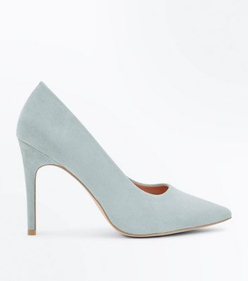Wide Fit Mint Green Suedette Pointed Court Shoes