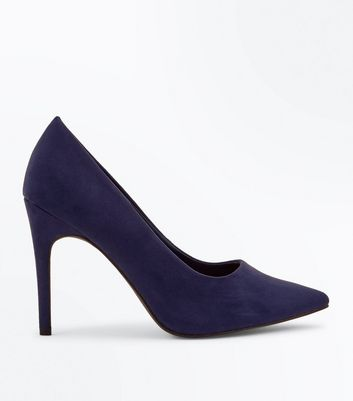 Wide Fit Navy Suedette Pointed Court Shoes