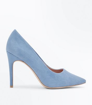 Wide Fit Pale Blue Suedette Pointed Court Shoes