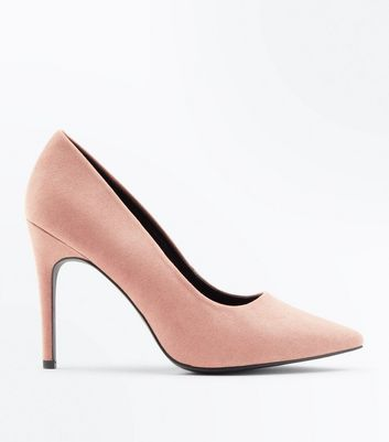 Wide Fit Pink Suedette Pointed Court Shoes