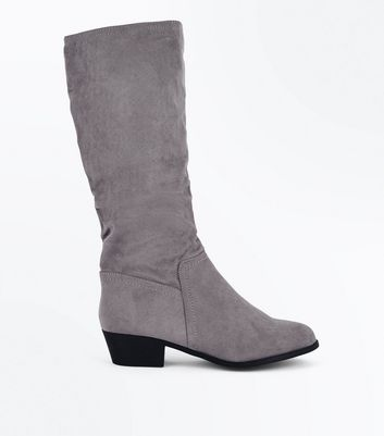 Wide Fit Grey Suedette Slouchy Knee High Boots