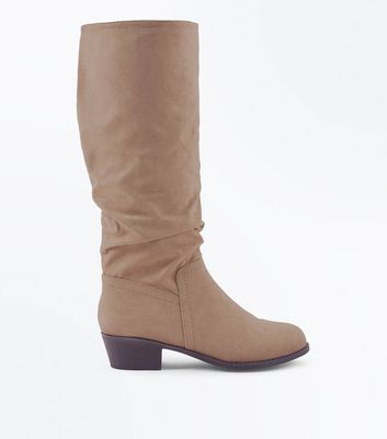Wide Fit Light Brown Suedette Slouchy Knee High Boots