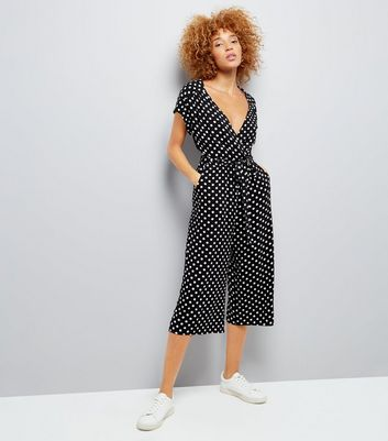Black Polka Dot Wrap Front Culotte Jumpsuit