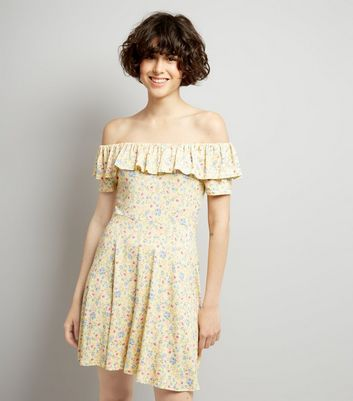 Yellow Floral Print Frill Trim Skater Dress