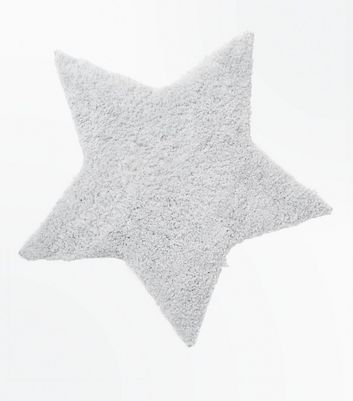 Grey Fluffy Star Rug New Look