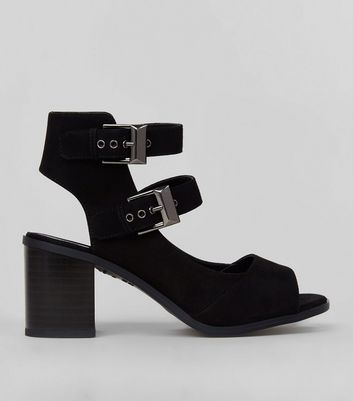 Teens Black Suedette Double Buckle Strap Block Heels
