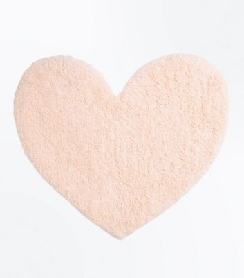 Shell Pink Fluffy Heart Rug