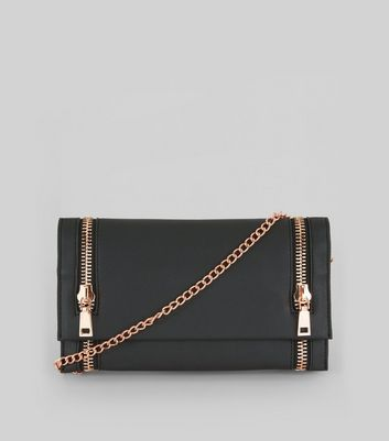 Black Double Zip Foldover Clutch