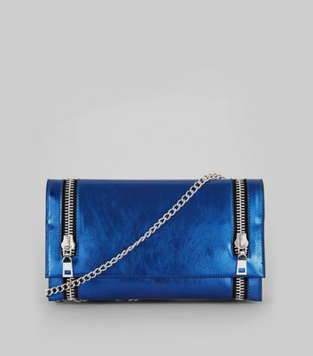 Metallic Blue Double Zip Foldover Clutch