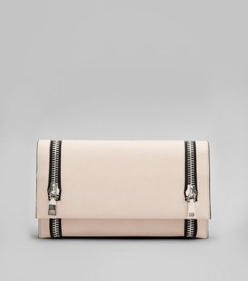 Pink Double Zip Foldover Clutch