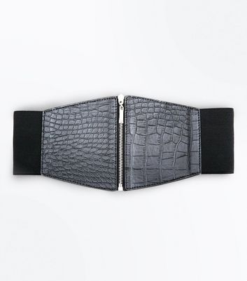 Black Croc Zip Up Waist Belt