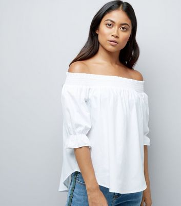 Petite White Shirred Bardot Neck Top