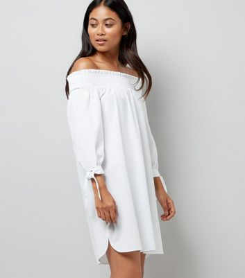Petite White Tie Sleeve Shirred Bardot Neck Dress