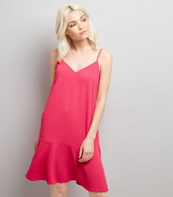 Petite Bright Pink Peplum Hem Slip Dress