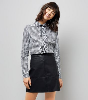 Blue Vanilla Black Gingham Frill Bow Neck Shirt