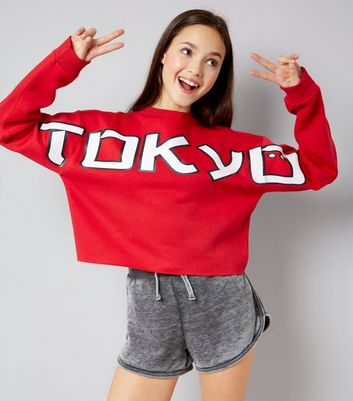 Teens Red Tokyo Cut Out Shoulder Jumper