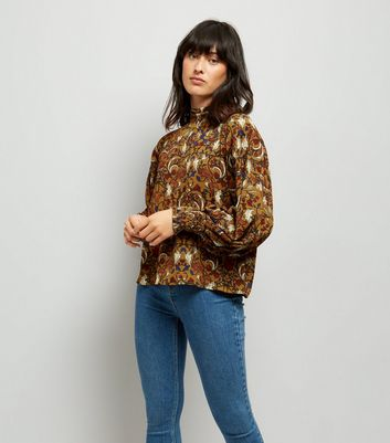 Blue Vanilla Yellow Floral Shirred Detail Top
