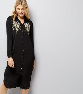 Blue Vanilla Black Floral Embroidered Satin Shirt Dress