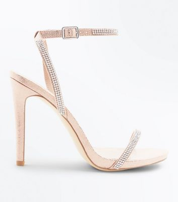 Rose Gold Diamante Embellished Heeled Sandals