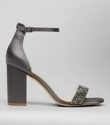 Grey Satin Crystal Embellished Block Heels