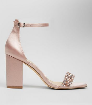 Pink Satin Crystal Embellished Block Heels