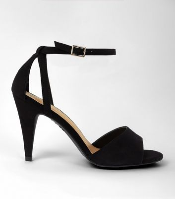 Black Suedette Cut Out Cone Heeled Sandals