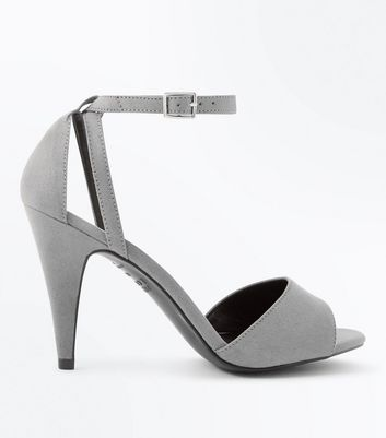 Grey Suedette Cut Out Cone Heel Sandals