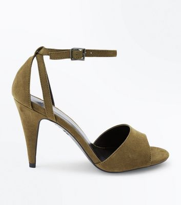 Khaki Suedette Cut Out Cone Heeled Sandals