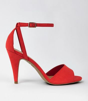 Red Suedette Cut Out Cone Heel Sandals