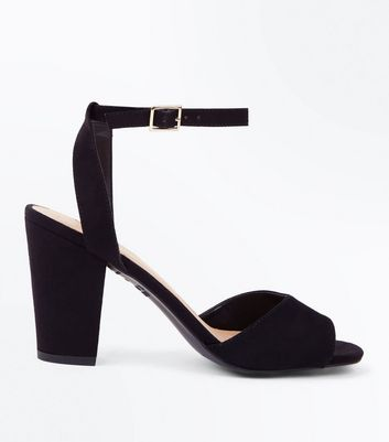 Black Suedette Cut Out Back Block Heel Sandals