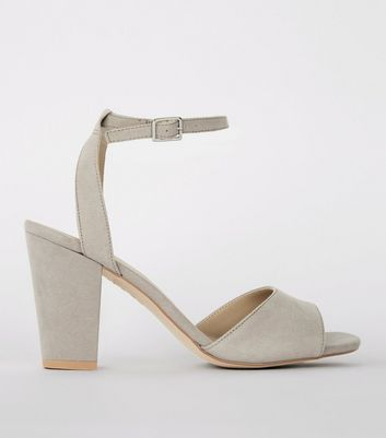 Grey Suedette Cut Out Back Block Heel Sandals