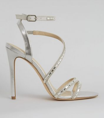 Silver Diamante Embroidered Ankle Strap Heels