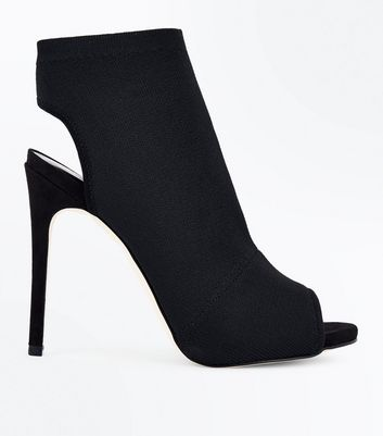 Black Ribbed Elastic Peep Toe Sock Boots