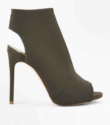 Khaki Ribbed Elastic Heeled Stiletto Shoe Boots