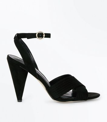 Black Cross Front Suedette Cone Heeled Sandals