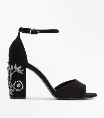Black Suedette Embellished Block Heels