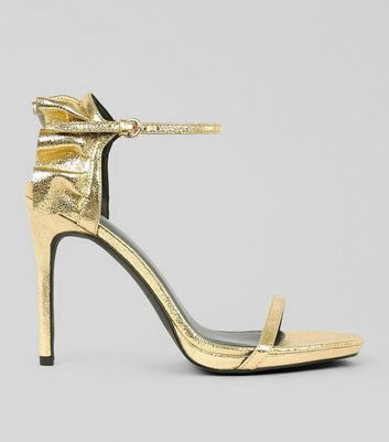 Gold Metallic Ruffle Back Heeled Sandals