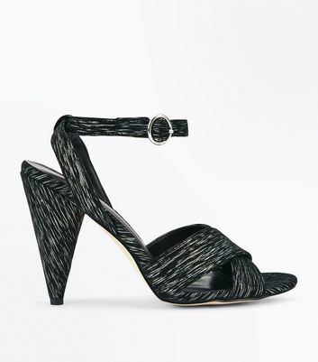 Black Iridescent Cross Strap Cone Heel Sandals