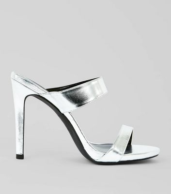 Silver Two Strap Heeled Mules