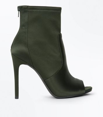 Khaki Satin Peep Toe Stiletto Shoe Boots