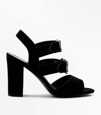 Black Suedette Multi Buckle Block Heels