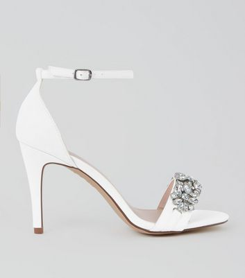 White Satin Embellished Strap Heeled Sandals