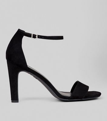 Black Suedette Ankle Strap Heeled Sandals