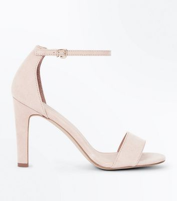 Nude Suedette Slim Block Heel Sandals