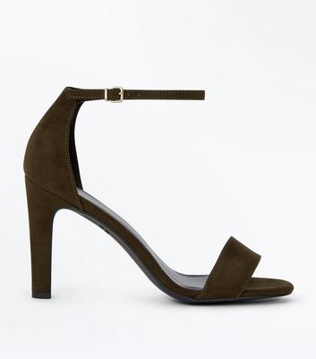 Khaki Suedette Slim Block Heel Sandals