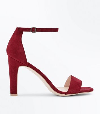 Deep Pink Suedette Slim Block Heel Sandals