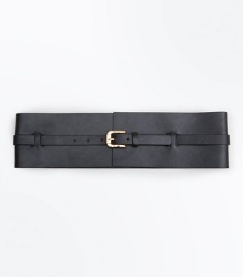 Black Wide Buckle Waist Belt