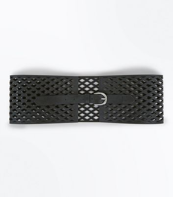 Black Laser Cut Wide Waist Belt