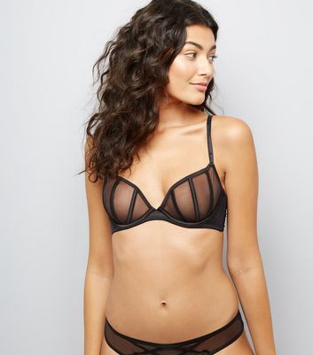 Black Sheer Satin Shell Bralet